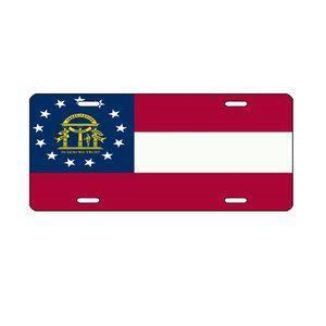 """Georgia License Plate Tag State Flag 6""""x12"""" Alumin"""